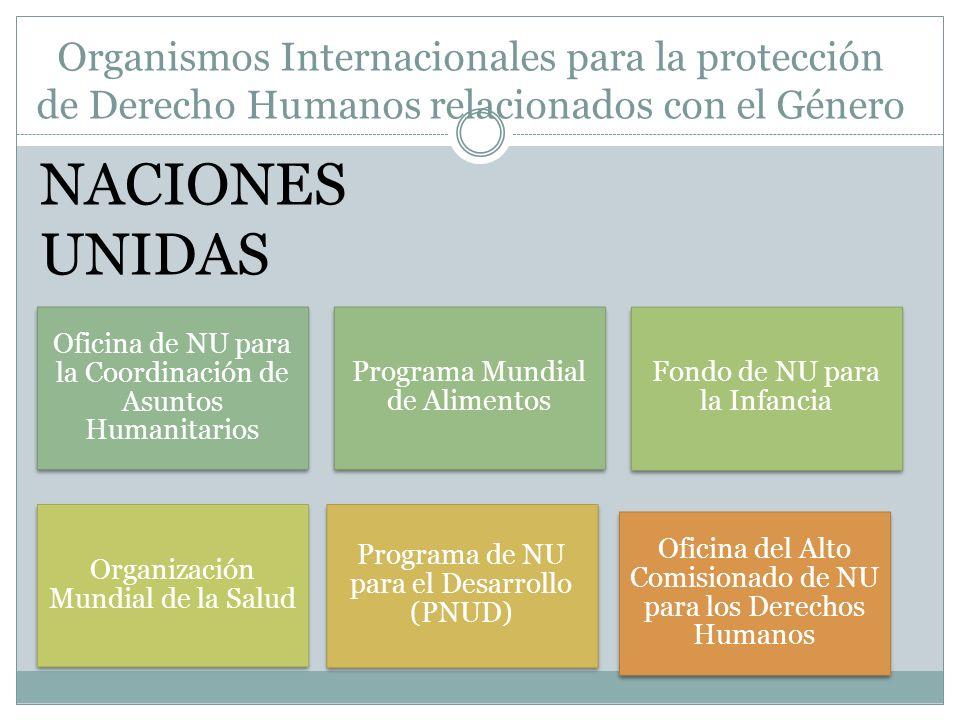 Organismos Internacionales para la protección de Derecho Humanos relacionados con el Género Oficina de NU para la Coordinación de Asuntos Humanitarios Programa Mundial de Alimentos Fondo de NU para la Infancia Organización Mundial de la Salud Programa de NU para el Desarrollo (PNUD) Oficina del Alto Comisionado de NU para los Derechos Humanos NACIONES UNIDAS