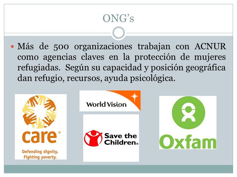ONGs Más de 500 organizaciones trabajan con ACNUR como agencias claves en la protección de mujeres refugiadas.