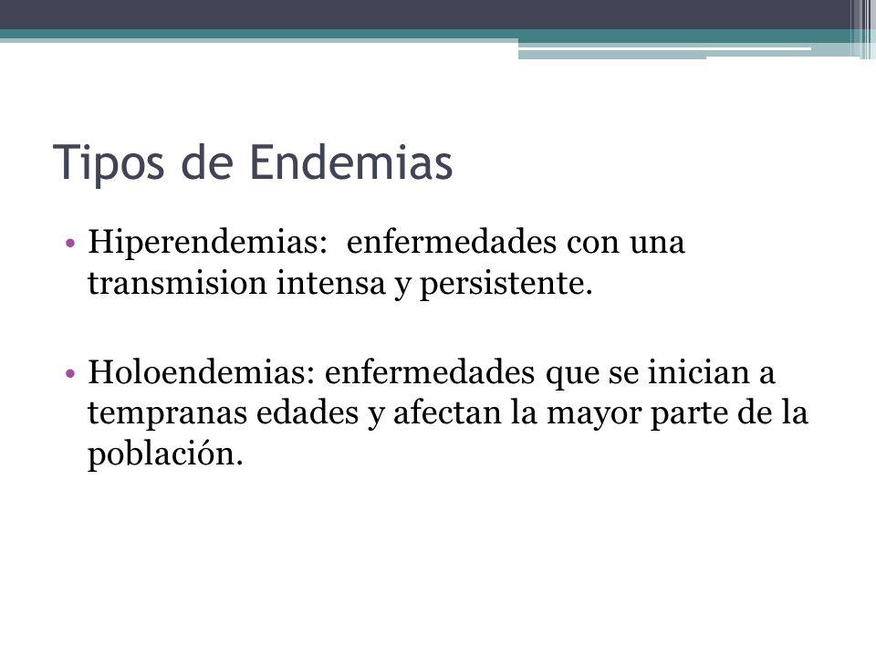 Tipos de Endemias Hiperendemias: enfermedades con una transmision intensa y persistente. Holoendemias: enfermedades que se inician a tempranas edades