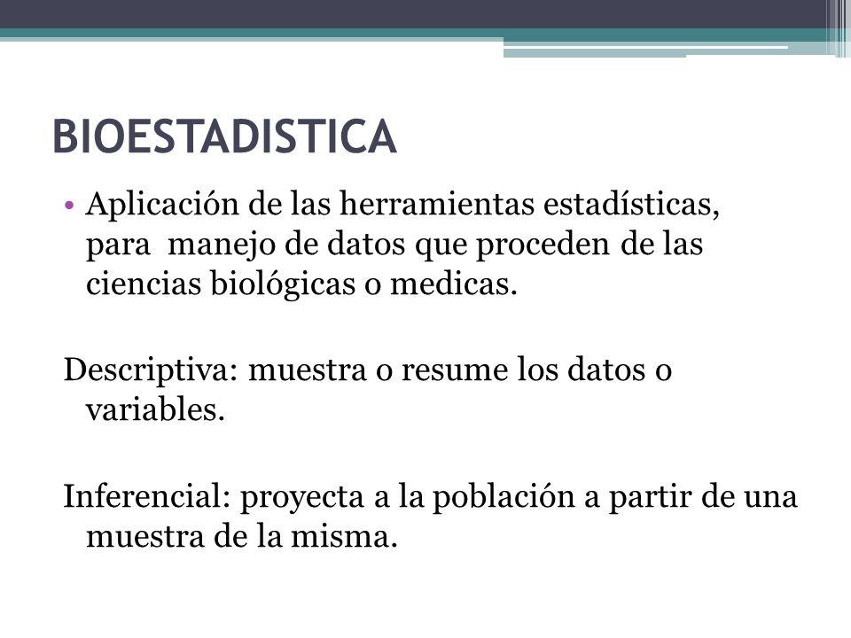 BIOESTADISTICA Aplicación de las herramientas estadísticas, para manejo de datos que proceden de las ciencias biológicas o medicas. Descriptiva: muest
