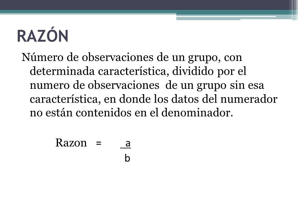 RAZÓN Número de observaciones de un grupo, con determinada característica, dividido por el numero de observaciones de un grupo sin esa característica,