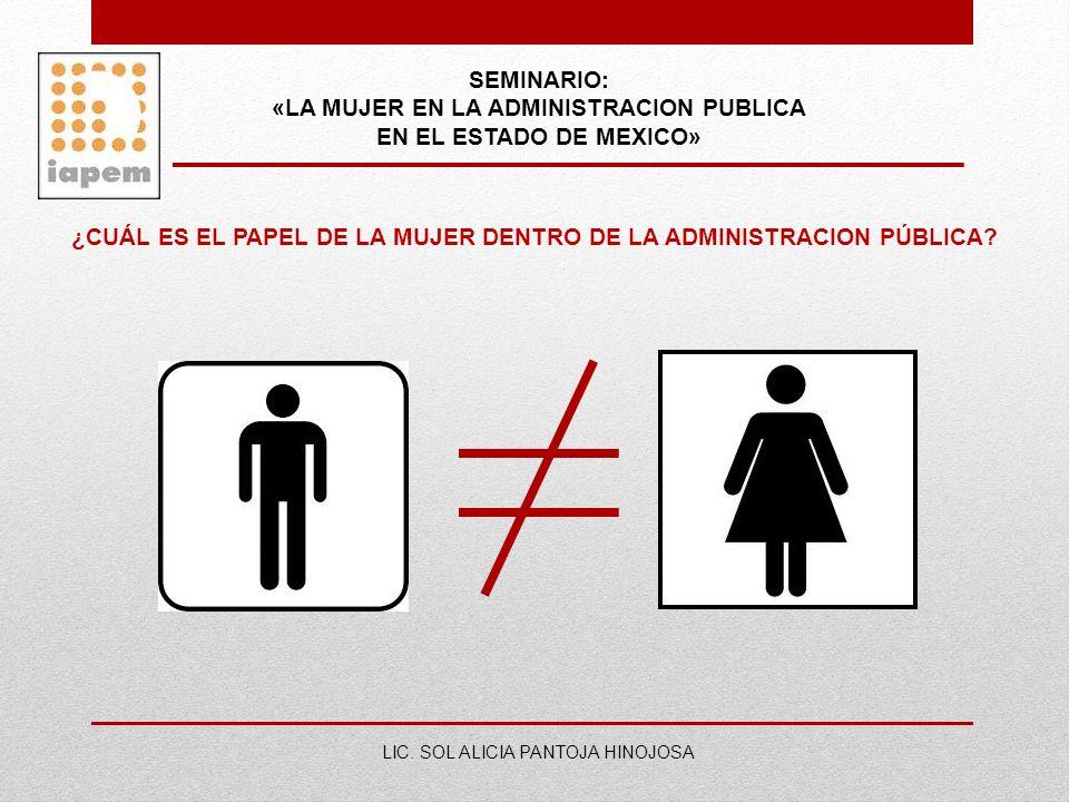 SEMINARIO: «LA MUJER EN LA ADMINISTRACION PUBLICA EN EL ESTADO DE MEXICO» LIC. SOL ALICIA PANTOJA HINOJOSA ¿CUÁL ES EL PAPEL DE LA MUJER DENTRO DE LA