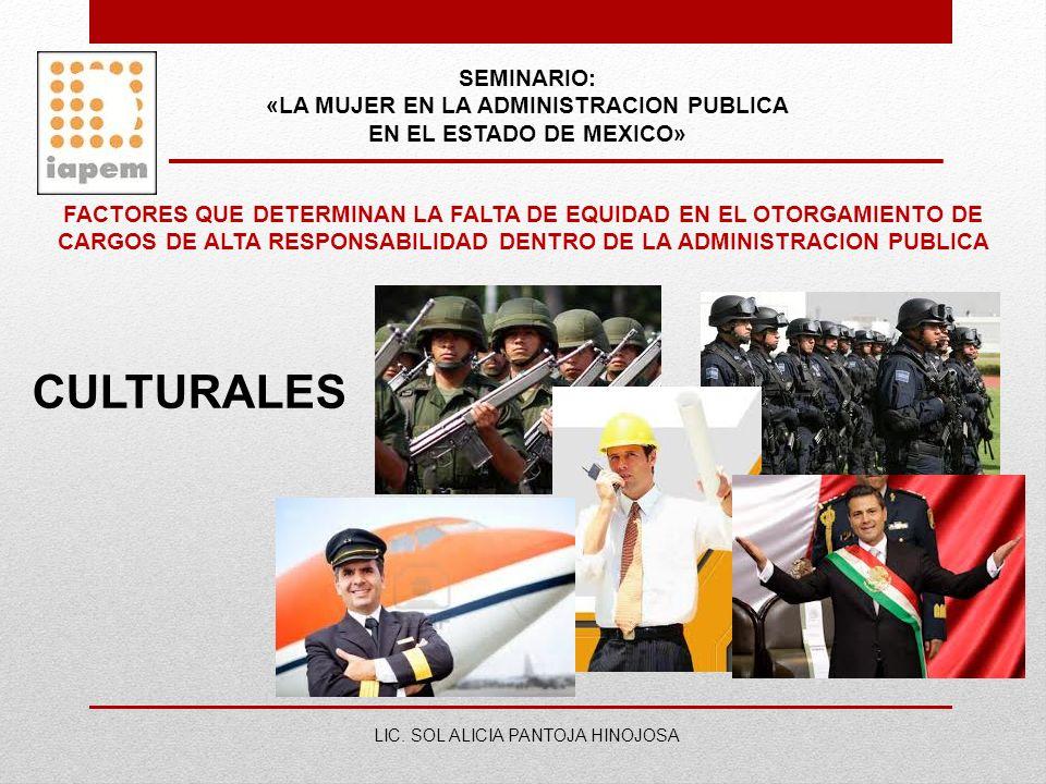 SEMINARIO: «LA MUJER EN LA ADMINISTRACION PUBLICA EN EL ESTADO DE MEXICO» LIC. SOL ALICIA PANTOJA HINOJOSA FACTORES QUE DETERMINAN LA FALTA DE EQUIDAD