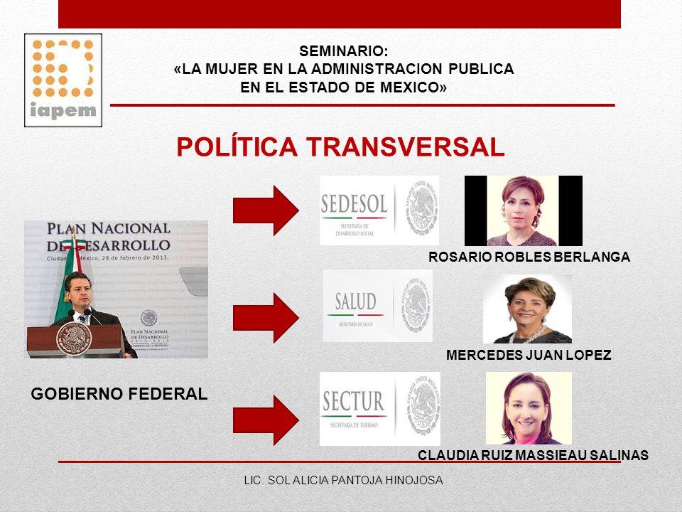 SEMINARIO: «LA MUJER EN LA ADMINISTRACION PUBLICA EN EL ESTADO DE MEXICO» LIC. SOL ALICIA PANTOJA HINOJOSA POLÍTICA TRANSVERSAL GOBIERNO FEDERAL ROSAR