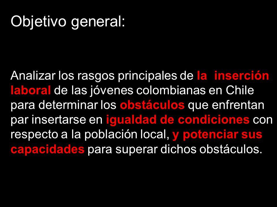 Objetivo general: Analizar los rasgos principales de la inserción laboral de las jóvenes colombianas en Chile para determinar los obstáculos que enfrentan par insertarse en igualdad de condiciones con respecto a la población local, y potenciar sus capacidades para superar dichos obstáculos.