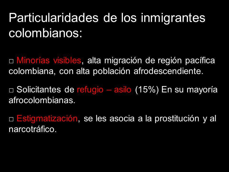 Particularidades de los inmigrantes colombianos: Minorías visibles, alta migración de región pacífica colombiana, con alta población afrodescendiente.