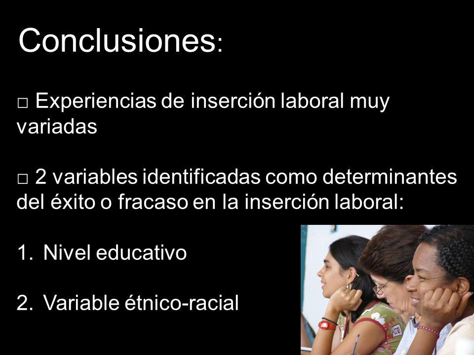 Conclusiones : Experiencias de inserción laboral muy variadas 2 variables identificadas como determinantes del éxito o fracaso en la inserción laboral: 1.Nivel educativo 2.Variable étnico-racial