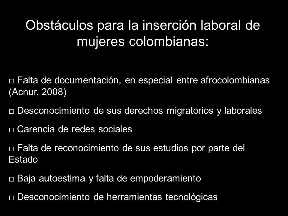 Obstáculos para la inserción laboral de mujeres colombianas: Falta de documentación, en especial entre afrocolombianas (Acnur, 2008) Desconocimiento de sus derechos migratorios y laborales Carencia de redes sociales Falta de reconocimiento de sus estudios por parte del Estado Baja autoestima y falta de empoderamiento Desconocimiento de herramientas tecnológicas