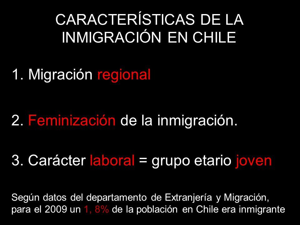 1.Migración regional 2. Feminización de la inmigración.