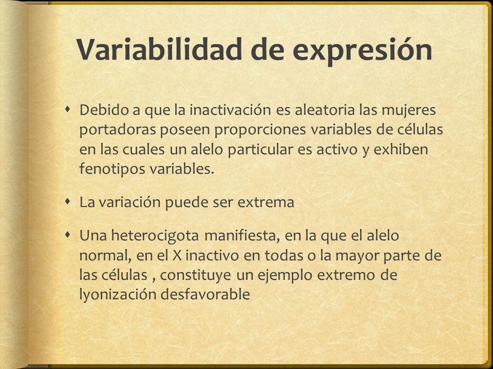 Variabilidad de expresión Debido a que la inactivación es aleatoria las mujeres portadoras poseen proporciones variables de células en las cuales un a