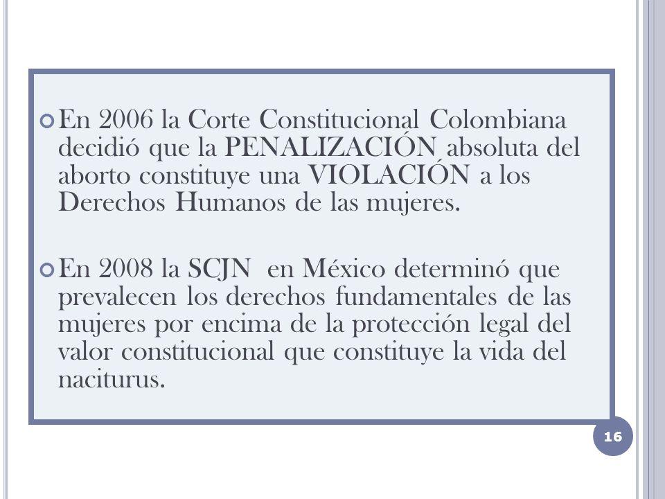 En 2006 la Corte Constitucional Colombiana decidió que la PENALIZACIÓN absoluta del aborto constituye una VIOLACIÓN a los Derechos Humanos de las mujeres.