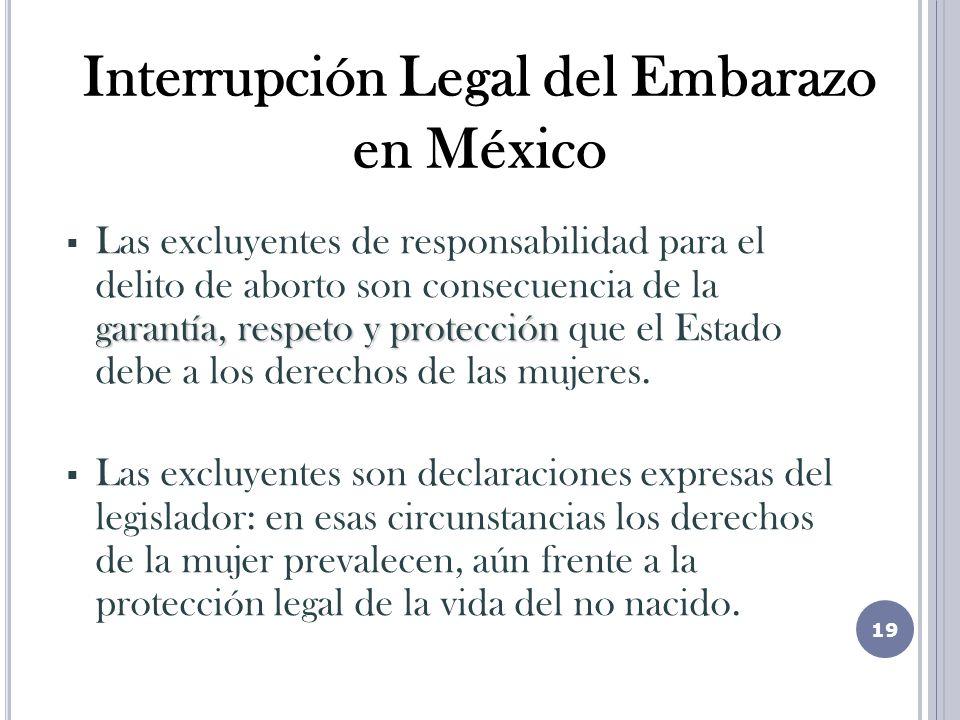 garantía, respeto y protección Las excluyentes de responsabilidad para el delito de aborto son consecuencia de la garantía, respeto y protección que el Estado debe a los derechos de las mujeres.