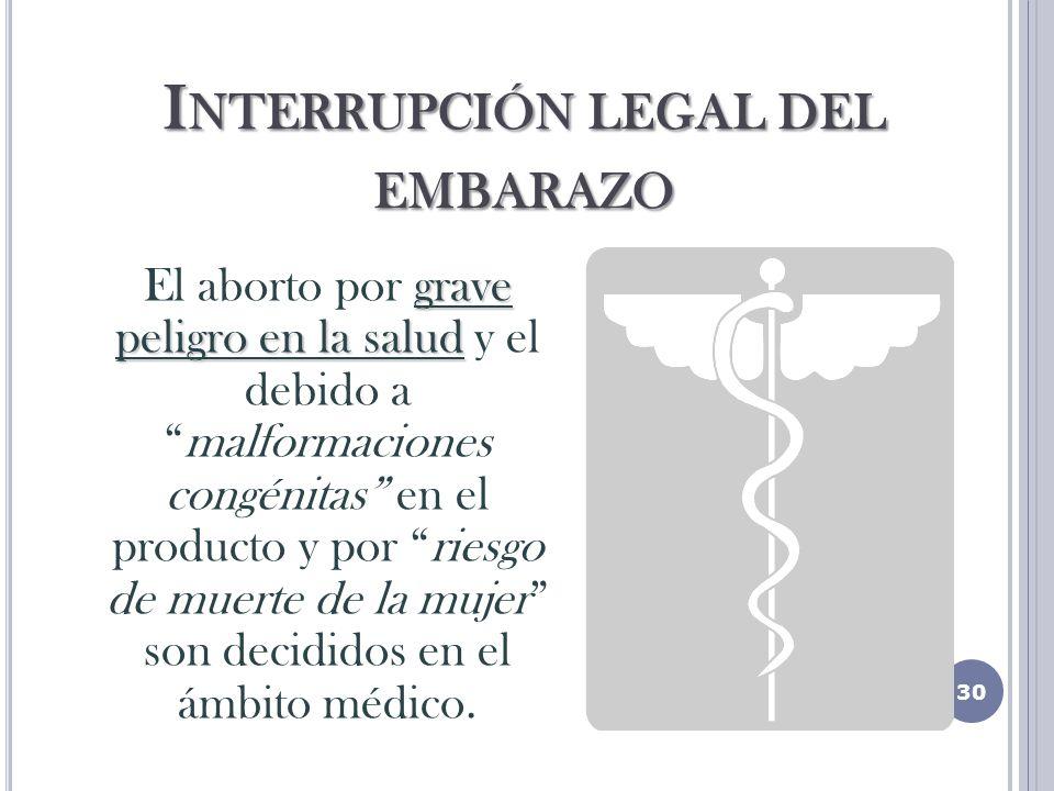I NTERRUPCIÓN LEGAL DEL EMBARAZO grave peligro en la salud El aborto por grave peligro en la salud y el debido amalformaciones congénitas en el producto y por riesgo de muerte de la mujer son decididos en el ámbito médico.