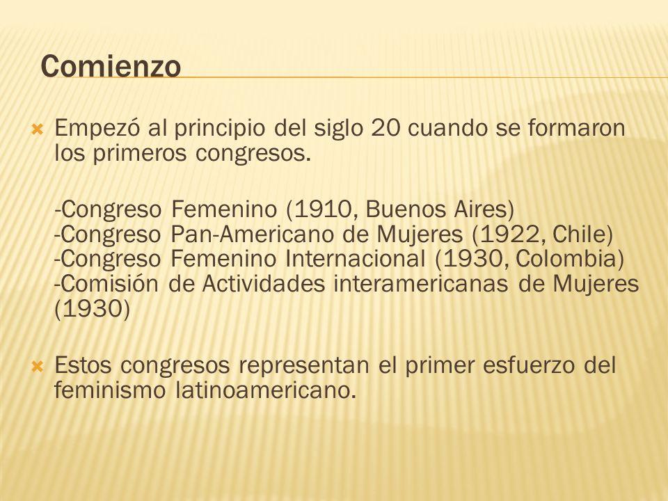 Comienzo Empezó al principio del siglo 20 cuando se formaron los primeros congresos. -Congreso Femenino (1910, Buenos Aires) -Congreso Pan-Americano d