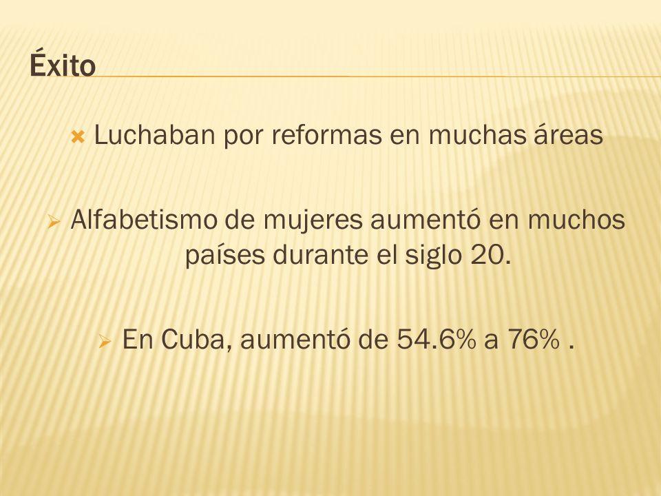 Éxito Luchaban por reformas en muchas áreas Alfabetismo de mujeres aumentó en muchos países durante el siglo 20. En Cuba, aumentó de 54.6% a 76%.