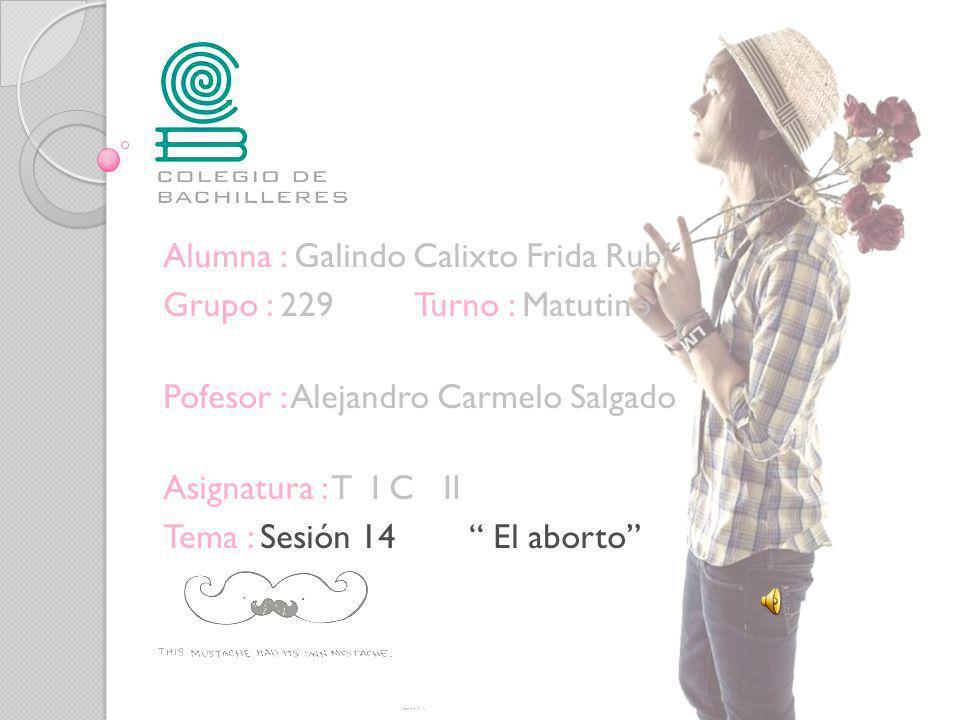 Alumna : Galindo Calixto Frida Rubí. Grupo : 229 Turno : Matutino Pofesor : Alejandro Carmelo Salgado Asignatura : T I C II Tema : Sesión 14 El aborto