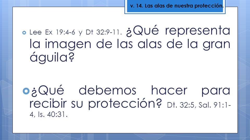 Lee Ex 19:4-6 y Dt 32:9-11. ¿Qué representa la imagen de las alas de la gran águila? ¿Qué debemos hacer para recibir su protección? Dt. 32:5, Sal. 91: