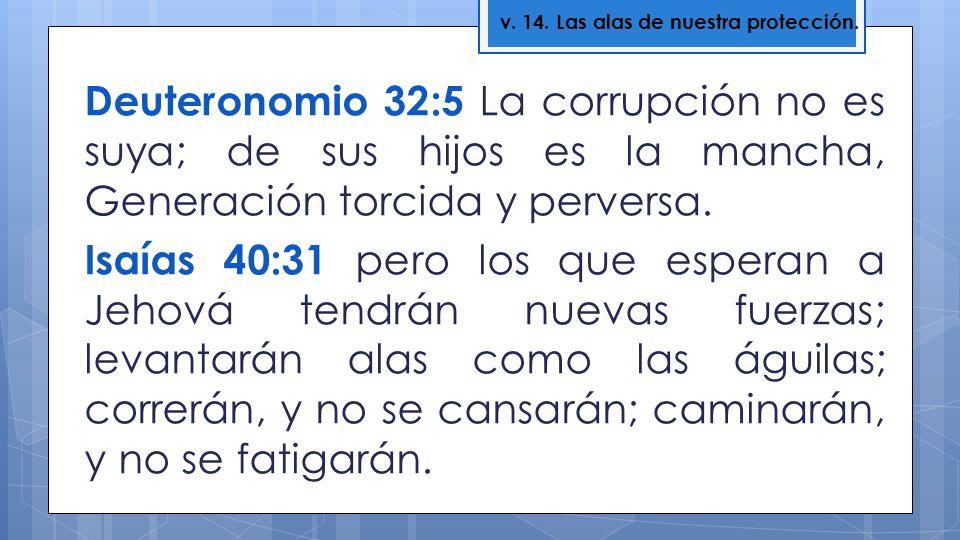Deuteronomio 32:5 La corrupción no es suya; de sus hijos es la mancha, Generación torcida y perversa. Isaías 40:31 pero los que esperan a Jehová tendr