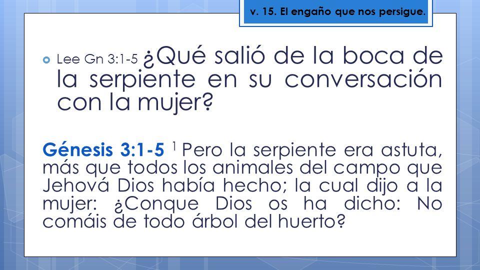 Lee Gn 3:1-5 ¿Qué salió de la boca de la serpiente en su conversación con la mujer? Génesis 3:1-5 1 Pero la serpiente era astuta, más que todos los an