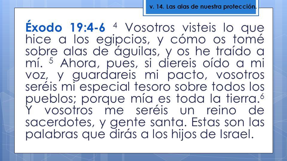 Éxodo 19:4-6 4 Vosotros visteis lo que hice a los egipcios, y cómo os tomé sobre alas de águilas, y os he traído a mí. 5 Ahora, pues, si diereis oído