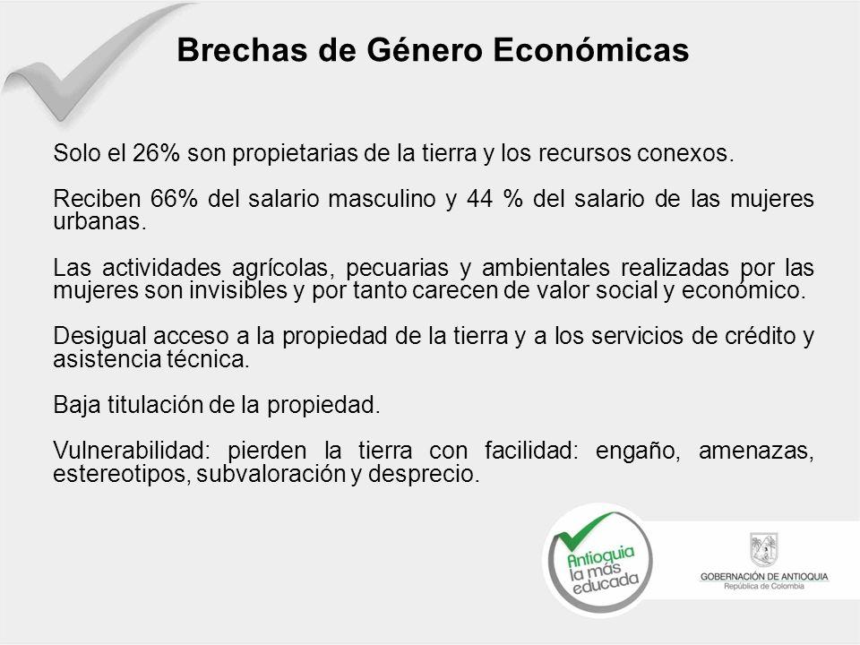 Brechas de Género Económicas Solo el 26% son propietarias de la tierra y los recursos conexos. Reciben 66% del salario masculino y 44 % del salario de