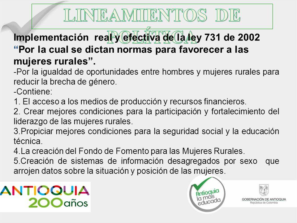Implementación real y efectiva de la ley 731 de 2002Por la cual se dictan normas para favorecer a las mujeres rurales. -Por la igualdad de oportunidad