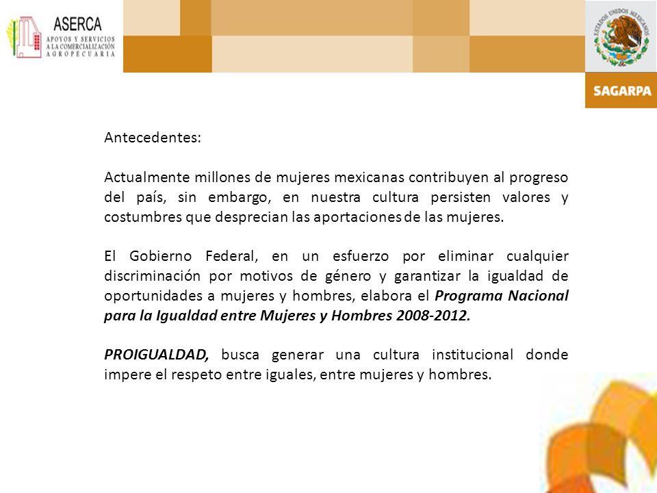 Antecedentes: Actualmente millones de mujeres mexicanas contribuyen al progreso del país, sin embargo, en nuestra cultura persisten valores y costumbr