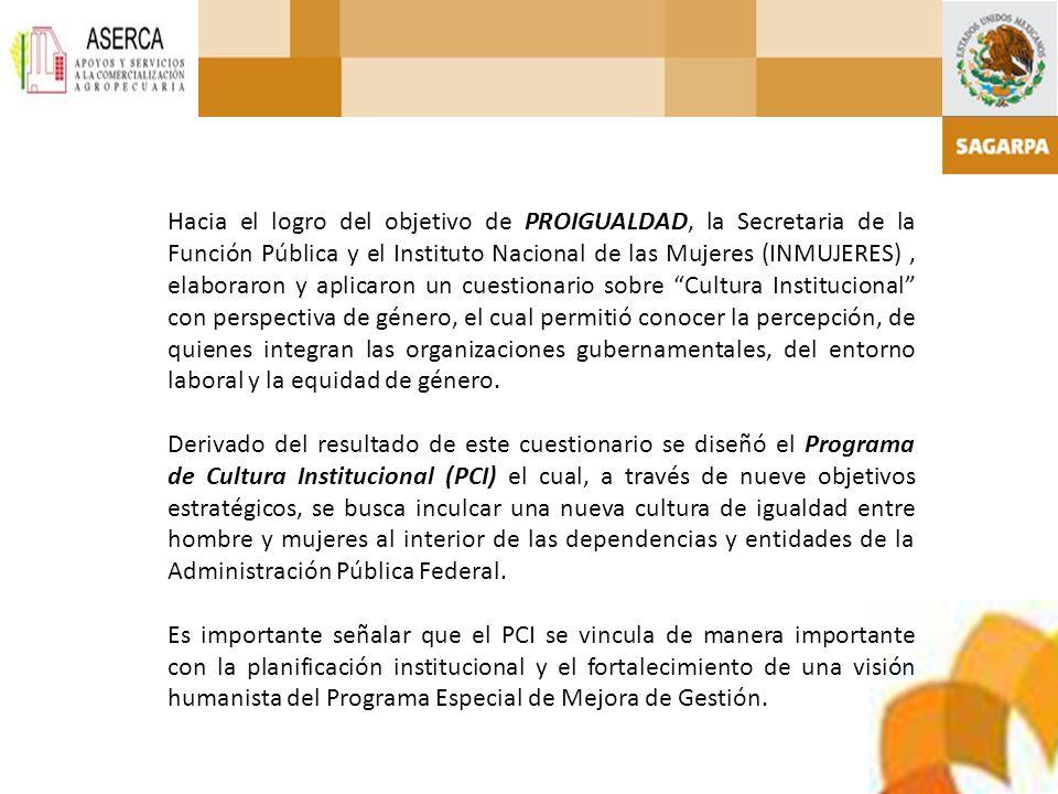Hacia el logro del objetivo de PROIGUALDAD, la Secretaria de la Función Pública y el Instituto Nacional de las Mujeres (INMUJERES), elaboraron y aplic