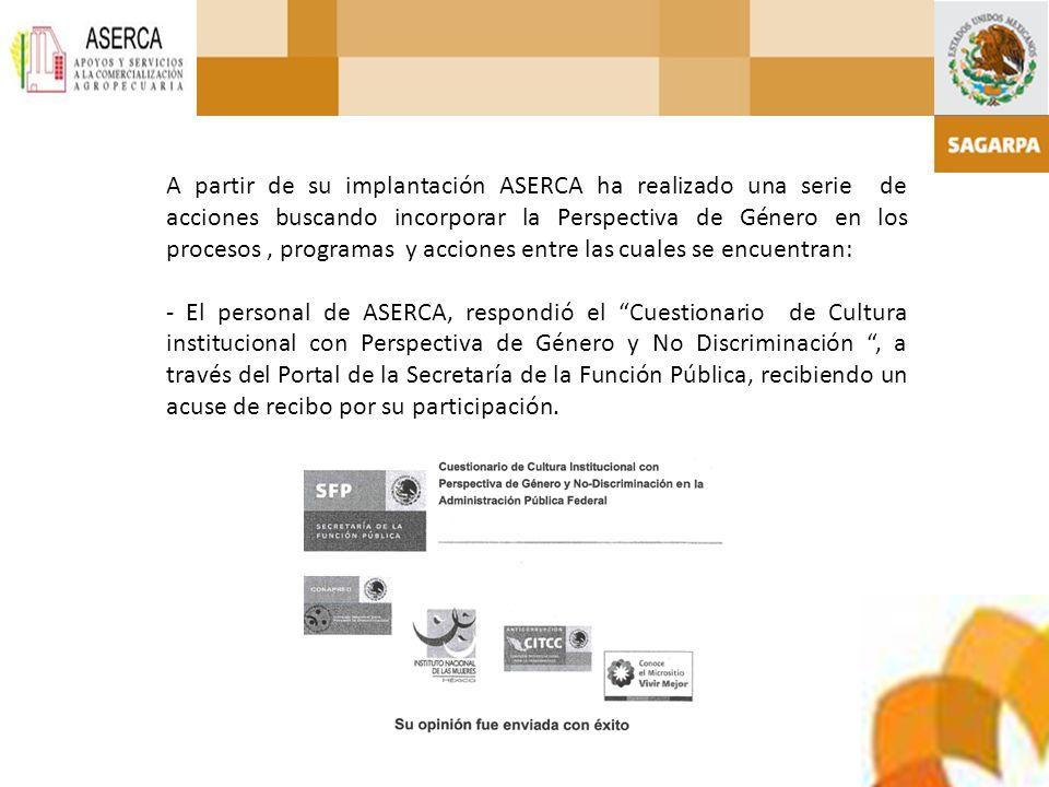 A partir de su implantación ASERCA ha realizado una serie de acciones buscando incorporar la Perspectiva de Género en los procesos, programas y accion