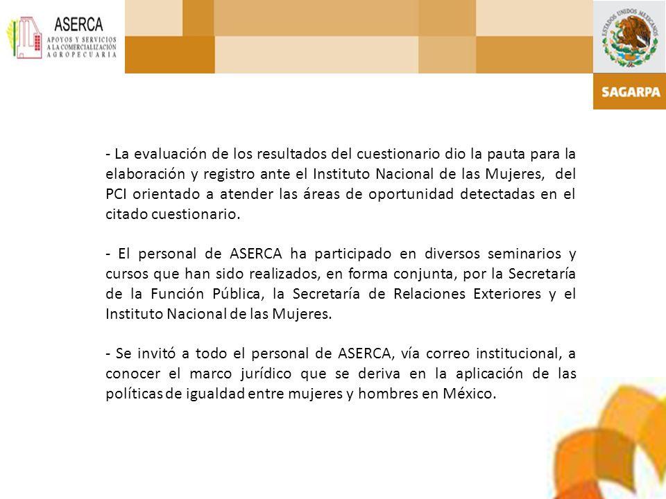 - La evaluación de los resultados del cuestionario dio la pauta para la elaboración y registro ante el Instituto Nacional de las Mujeres, del PCI orie