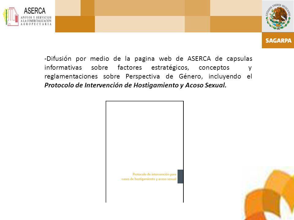 -Difusión por medio de la pagina web de ASERCA de capsulas informativas sobre factores estratégicos, conceptos y reglamentaciones sobre Perspectiva de