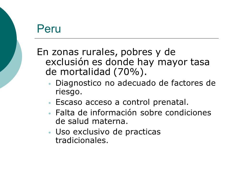 Peru En zonas rurales, pobres y de exclusión es donde hay mayor tasa de mortalidad (70%). Diagnostico no adecuado de factores de riesgo. Escaso acceso