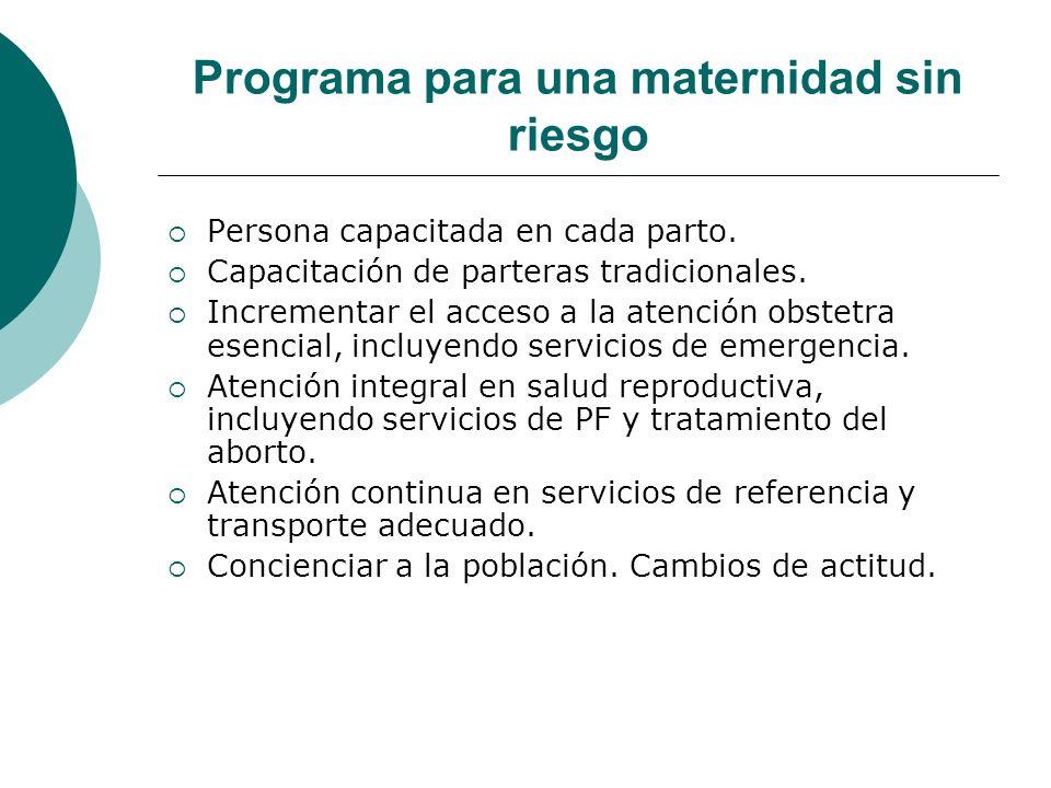 Programa para una maternidad sin riesgo Persona capacitada en cada parto. Capacitación de parteras tradicionales. Incrementar el acceso a la atención