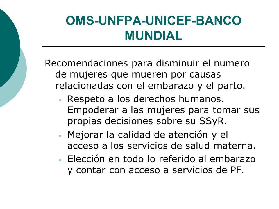 OMS-UNFPA-UNICEF-BANCO MUNDIAL Recomendaciones para disminuir el numero de mujeres que mueren por causas relacionadas con el embarazo y el parto. Resp