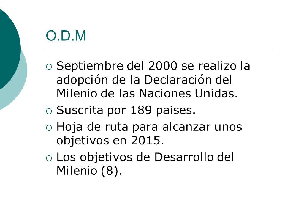 O.D.M Septiembre del 2000 se realizo la adopción de la Declaración del Milenio de las Naciones Unidas. Suscrita por 189 paises. Hoja de ruta para alca