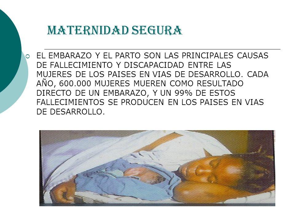 MATERNIDAD SEGURA Por cada mujer muerta-30 sufren lesiones ¼ de las mujeres de países en desarrollo sufren discapacidad Adolescentes: doble de riesgo de mortalidad 3.000.000 de muertes neonatales 3.000.000 nacidos muertos Los niños que sobreviven a sus madres,10 veces mas riesgo de morir