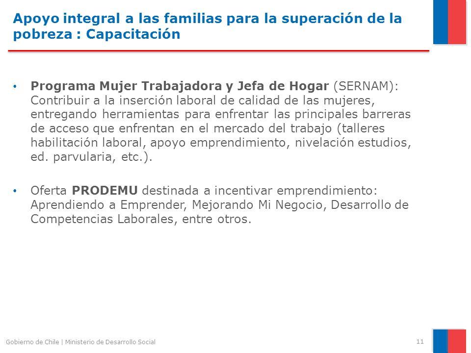 Apoyo integral a las familias para la superación de la pobreza : Capacitación Programa Mujer Trabajadora y Jefa de Hogar (SERNAM): Contribuir a la ins