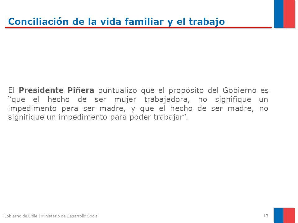 Conciliación de la vida familiar y el trabajo El Presidente Piñera puntualizó que el propósito del Gobierno es que el hecho de ser mujer trabajadora, no signifique un impedimento para ser madre, y que el hecho de ser madre, no signifique un impedimento para poder trabajar.