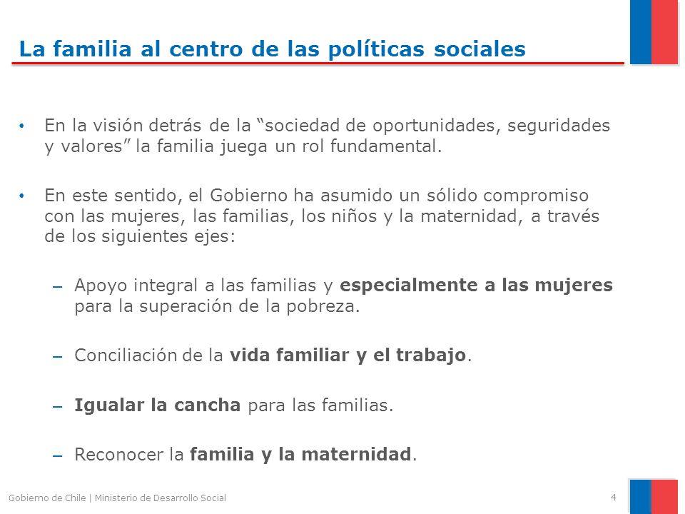 La familia al centro de las políticas sociales En la visión detrás de la sociedad de oportunidades, seguridades y valores la familia juega un rol fundamental.