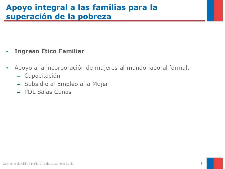 Apoyo integral a las familias para la superación de la pobreza Ingreso Ético Familiar Apoyo a la incorporación de mujeres al mundo laboral formal: – Capacitación – Subsidio al Empleo a la Mujer – PDL Salas Cunas 5 Gobierno de Chile | Ministerio de Desarrollo Social