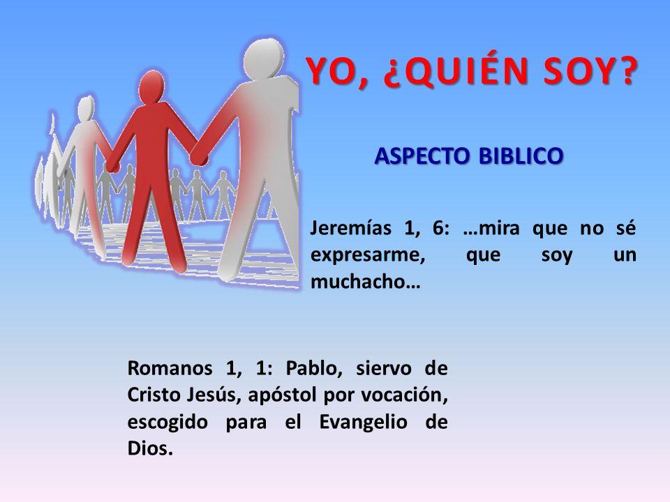 Jeremías 1, 6: …mira que no sé expresarme, que soy un muchacho… Romanos 1, 1: Pablo, siervo de Cristo Jesús, apóstol por vocación, escogido para el Ev
