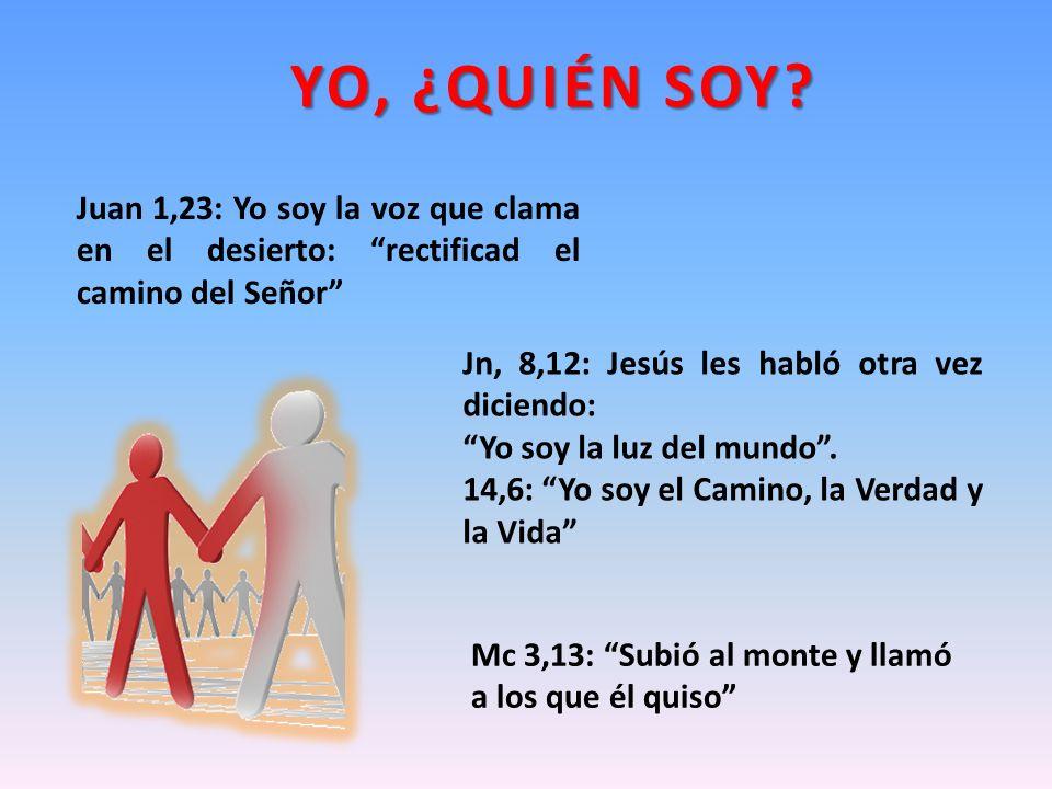 Jn, 8,12: Jesús les habló otra vez diciendo: Yo soy la luz del mundo. 14,6: Yo soy el Camino, la Verdad y la Vida YO, ¿QUIÉN SOY? Juan 1,23: Yo soy la