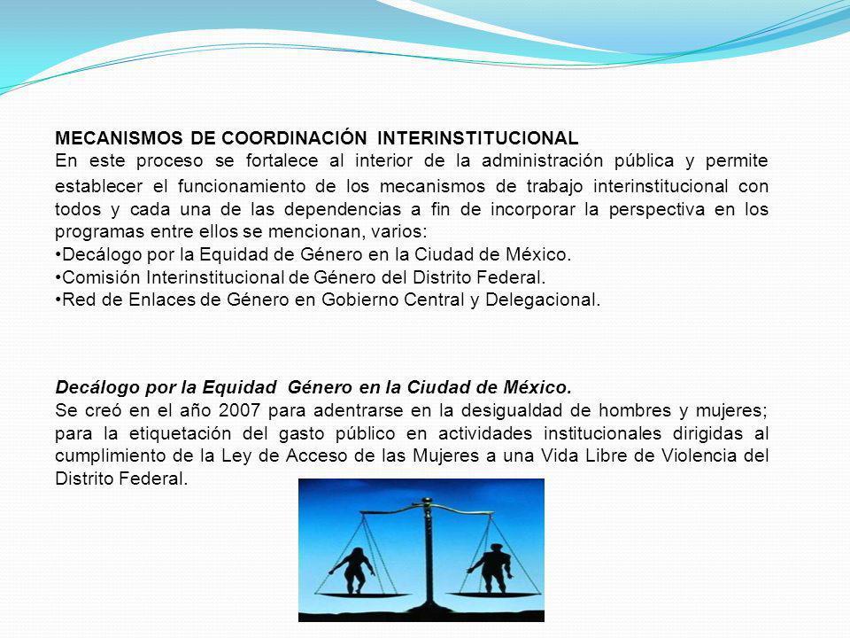 MECANISMOS DE COORDINACIÓN INTERINSTITUCIONAL En este proceso se fortalece al interior de la administración pública y permite establecer el funcionami