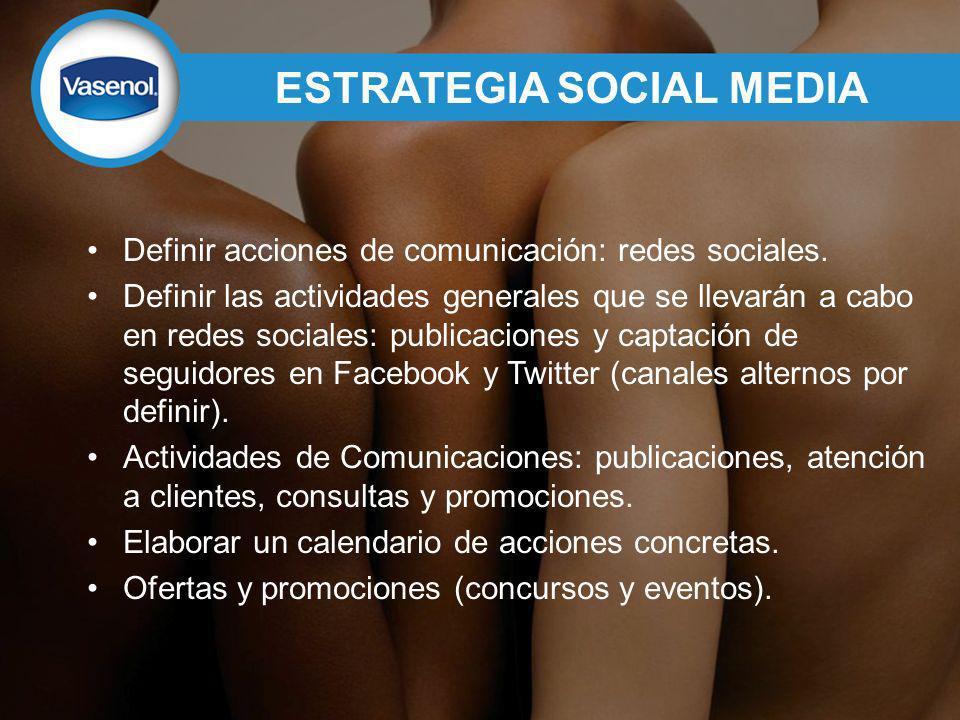 ESTRATEGIA SOCIAL MEDIA Definir acciones de comunicación: redes sociales.