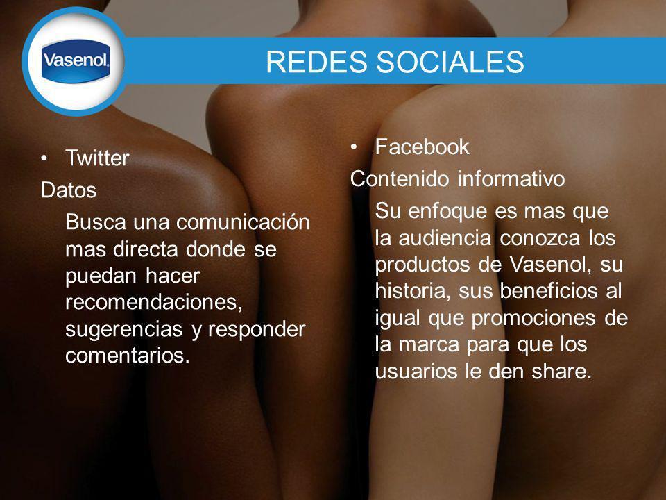 REDES SOCIALES Twitter Datos Busca una comunicación mas directa donde se puedan hacer recomendaciones, sugerencias y responder comentarios.