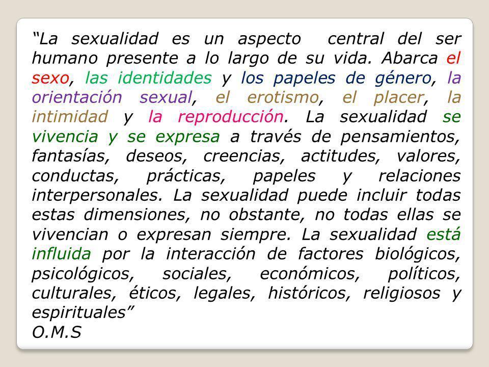 La sexualidad es un aspecto central del ser humano presente a lo largo de su vida. Abarca el sexo, las identidades y los papeles de género, la orienta