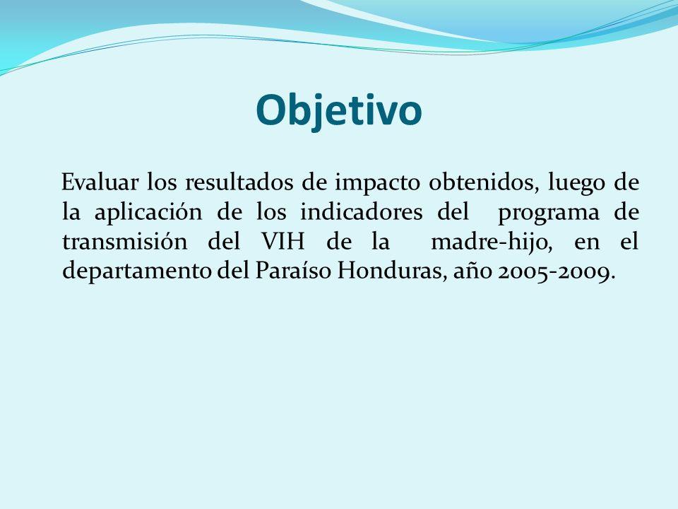 Objetivo Evaluar los resultados de impacto obtenidos, luego de la aplicación de los indicadores del programa de transmisión del VIH de la madre-hijo, en el departamento del Paraíso Honduras, año 2005-2009.