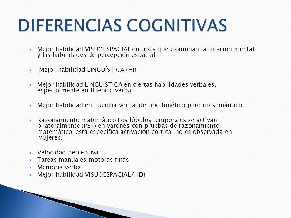 Mejor habilidad VISUOESPACIAL en tests que examinan la rotación mental y las habilidades de percepción espacial Mejor habilidad LINGÜÍSTICA (HI) Mejor