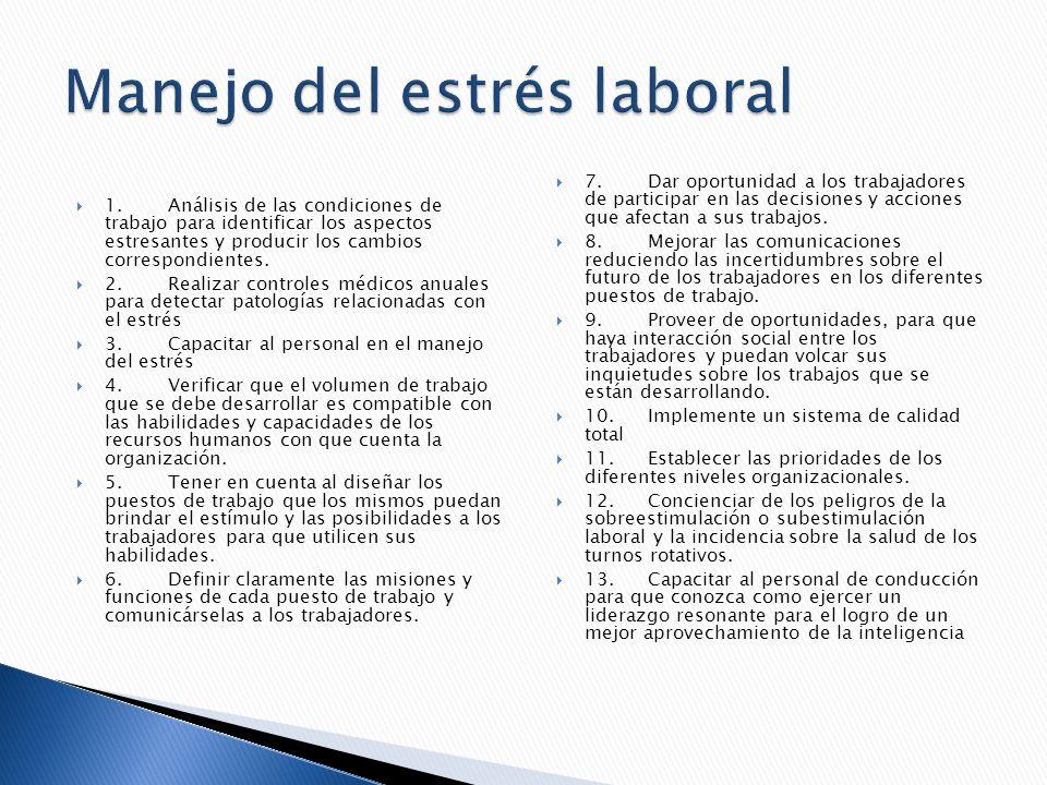 1.Análisis de las condiciones de trabajo para identificar los aspectos estresantes y producir los cambios correspondientes. 2.Realizar controles médic
