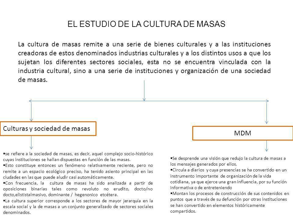 EL ESTUDIO DE LA CULTURA DE MASAS La cultura de masas remite a una serie de bienes culturales y a las instituciones creadoras de estos denominados industrias culturales y a los distintos usos a que los sujetan los diferentes sectores sociales, esta no se encuentra vinculada con la industria cultural, sino a una serie de instituciones y organización de una sociedad de masas.